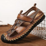 New              Men Casual Breathable Mesh Soft Bottom Hand-stitched Sandals