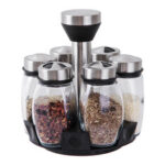 New              6Pcs Multifunction Set Spices Rack Rotating Tanks Cruet Storage Bottles Salt Shakers Holder for Kitchen Organizer