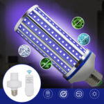 New              AC85-265V 60W E27 LED UVC Corn Bulb UV Germicidal Lamp Household Ultraviolet Disinfection Light + Remote Control