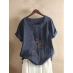 New              Flower Print O-neck Button Short Sleeve Vintage T-shirts For Women