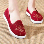 New              Women Embroidery Comfy Breathable Casual Shallow Slip On Flat Loafers