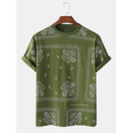 New              Mens Solid Cotton Ethnic Totem Square Printed Casual Home Round Neck T-shirts