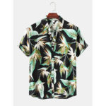 New              Men Strelitzia Floral Print Button Up Turn Down Collar Hawaii Holiday Short Sleeve Shirts