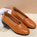 New              Women Casual Breathable Leather Halved Belt Slip-on Soft Sole Loafers