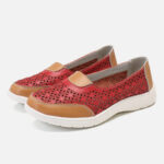 New              Women Hollow Leather Slip On Solid color Soft Sole Flats