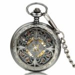 New              Deffrun Vintage Black Automatic Mechanical Pocket Watch