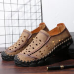 New              Men Hand Stitching Microfiber Leather Hole Non Slip Casual Flats