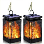 New              LED Solar Lantern Lights Dancing Flame Waterproof Outdoor Hanging Lantern Garden