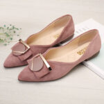 New              Women's Button-detailed Suede Pointy Toe Flats