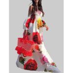 New              Off Shoulder Floral Print Elastic Summer Beach Long Maxi Dress