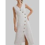 New              Women Sleeveless V-neck Buttons Casual Shirt Dress