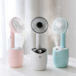 New              2 In 1 Rotating Spray Air Humidifier Fan USB Charging 3 Gears White Pink Blue