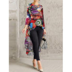 New              Retro Floral Print Crew Neck Long Sleeve High Low Casual Blouse For Women