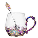 New              Enamel Crystal Glass Rose Flower Tea Cup Set Spoon Coffee Cup Mug Kit Wedding Gift