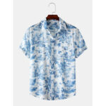 New              Mens Toile De Jouy Porcelain Printed Short Sleeve Turn Down Collar Casual Shirts