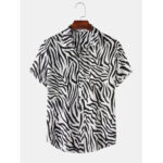 New              Men Zebra Print Turn Down Collar Pocket Button Up Casual Shirts