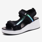 New              Women Mesh Stitching Hook Loop Casual Sports Wedge Sandals