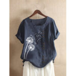 New              Casual Flower Printed Short Sleeve O-Neck Button Overhead T-shirt