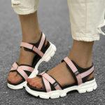New              LOSTISY Women Hook Loop Platform Sport Sandals