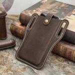 New              Men Genuine Leather Vintage 6.3 inch Phone Bag Waist Bag Pouch Leather Belt Bag Purse