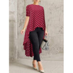New              Polka Dot Print O-neck Short Sleeve High Low Hem Long Shirts Blouse For Women