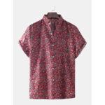 New              Mens Paisley Print Short Sleeve Fold Down Collar Casual Shirts