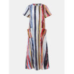 New              Casual Loose Crew Neck Short Sleeve Striped Baggy Maxi Dress
