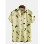 New              Mens Fashion Coconut Tree Printing Breathable Short Sleeve Casual Shirts