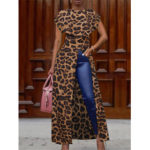 New              Leopard Print Crew Neck High Splited Irregular Hem Casual Shirts For Women