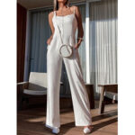 New              Vacation Solid Color High Waist Sleeveless Sling Casual Wide Leg Jumpsuit