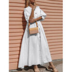 New              Daily Casual Women Solid Color Ruffle Sleeve Button Holiday Maxi Dress