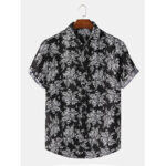 New              Men Rose Graffiti Print Botton Up Turn Down Collar Short Sleeve Casual Shirts