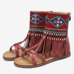 New              LOSTISY Women Embroidered Zipper Opened Toe Mid Claf Gladiator Sandals