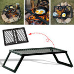New              Portable Folding Campfire Grill Grate Camping BBQ Cooking Open Over Fire Outdoor Folding Garden Furniture