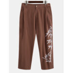 New              Mens Cotton Oriental Bamboo Print Breathable Button Casual Pants