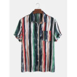 New              Mens Cotton Colorful Stripe Printed Tie-Dyed Holiday Casual Short Sleeve Shirts
