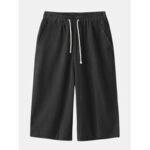 New              Men Loose Drawstring Pocket Black Casual Pants