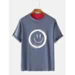 New              Men Graffiti Smile Crew Neck Short Sleeve Casual T-Shirts