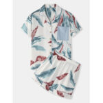 New              Women Tropical Plant Leaves Print Button Up Revere Collar Short Sleeve Home Casual Pajama Set