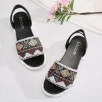 New              LOSTISY Women Printing Slip On Platform Sport Sandals