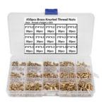 New              Suleve MXBN10 450Pcs M2 M3 M4 Brass Knurled Thread Nuts Insert Embedment Nuts Assortment Kit