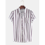 New              Mens Fashion Breathable Multi Colors Stripe Chest Pocket Short Sleeve Casual Shirts