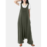 New              Casual Loose Sleeveless Front Pocket Solid Harem Jumpsuits For Women