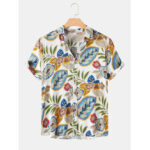 New              Mens Mixcolor Cartoon Leaf Print Short Sleeve Casual Holiday Shirts