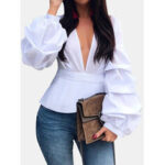New              Long Lantern sleeve V-neck Solid Casual Blouse For Women