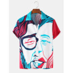 New              Men Funny Face Stick Figures Print Short Sleeve Holiday Casual Shirts