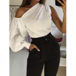 New              Casual Asymmetrical Shoulder Lantern Sleeve Solid Tops Shirts For Women