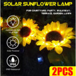 New              2PCS LED Solar Light Sunflower Lamp Outdoor Courtyard Garden Lawn Pathway Decoration