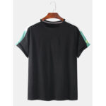 New              Mens Solid Color Side Patchwork Crew Neck Short Sleeve Casual T-Shirts