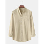 New              Men Solid Color Stand Collar Pactchwork Pocket Long Sleeve Shirts